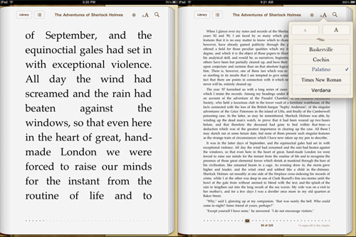 largest and smallest font size on the iBook app.