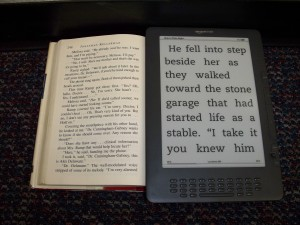enlarged text on the Kindle compared to print text