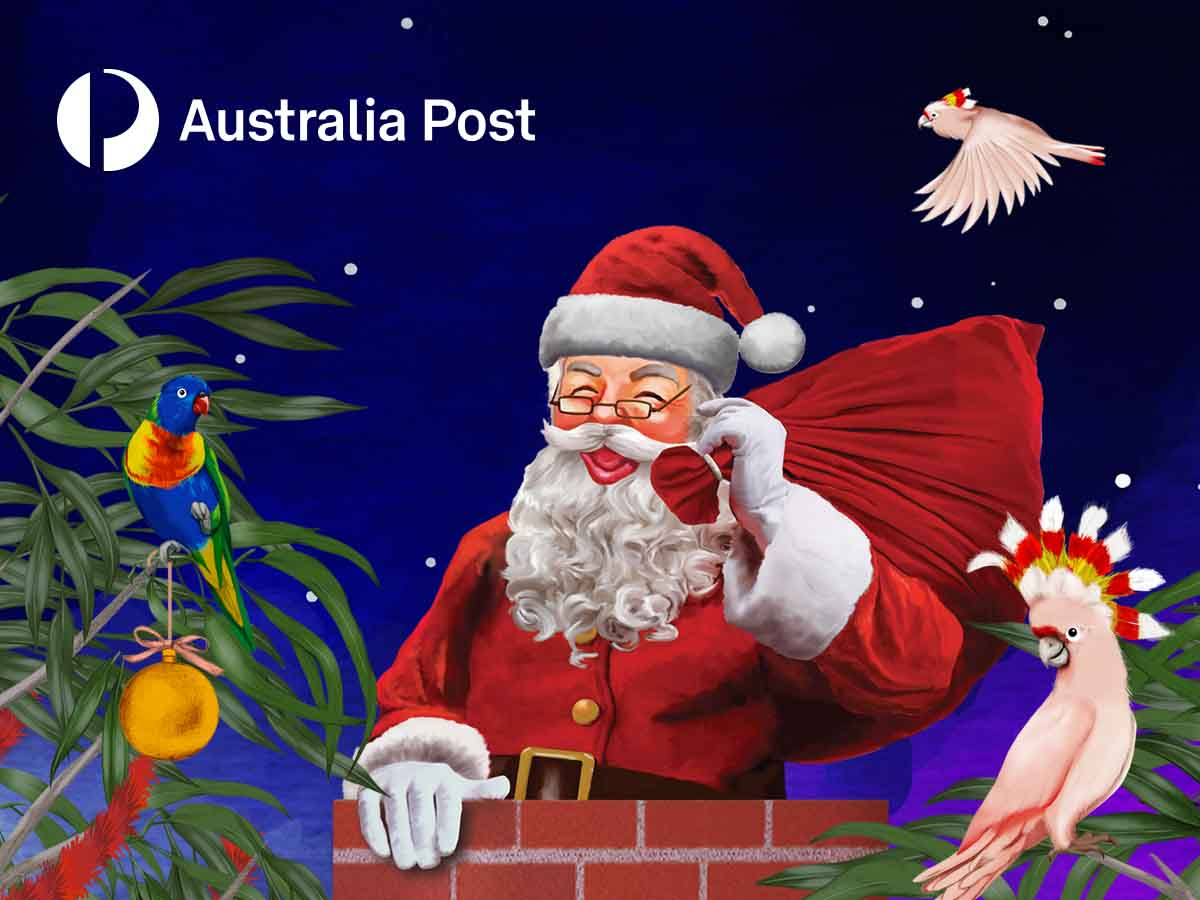 """Santa in a chimney with a red bag over his shoulders. A cockatoo and a Rosella bird are in the background."""